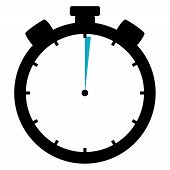 picture of stopwatch  - Black and blue Stopwatch Icon showing  - JPG