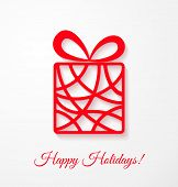 picture of applique  - Applique card with red gift box - JPG