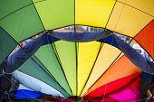 stock photo of balloon  - Inside of a hot air balloon preparing to fly at the Albuquerque Balloon Fiesta - JPG