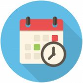 stock photo of countdown timer  - Meeting Deadlines modern flat icon with long shadow - JPG