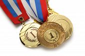 foto of medal  - Metal medals with tricolor ribbon on white - JPG