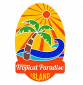 stock photo of silkscreening  - Tropical paradise logo for travel and other company and t - JPG