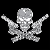 stock photo of guns  - Vector smiling skull with guns for tattoo design on black background - JPG