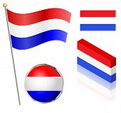 picture of flag pole  - Netherlands flag on a pole badge and isometric designs vector illustration - JPG