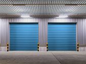 picture of roller shutter door  - Shutter door or rolling door blue color night scene - JPG