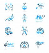 foto of ski boots  - Alpine skiing resort equipment and service blue - JPG