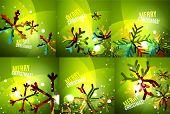 stock photo of merry chrismas  - Set of colorful bright Chrismas card - JPG