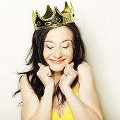 pic of queen crown  - happy young lovely woman with crown  - JPG
