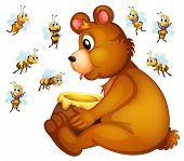 stock photo of grizzly bear  - Illustration of a grizzly bear eating honey  - JPG