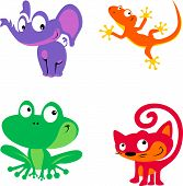 stock photo of orange frog  - simple cartoon animals   - JPG
