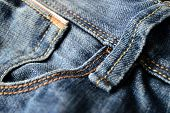 foto of vaquero  - Close up Blue Jeans and seam details - JPG