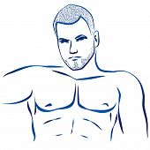 stock photo of ero  - Outline illustration of a nude mans muscular torso - JPG