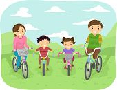 stock photo of stroll  - Illustration of a Family Taking a Stroll in the Park in Their Bicycles - JPG