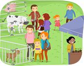 stock photo of stall  - Illustration of a Family Observing Stalls in a Farm Expo - JPG