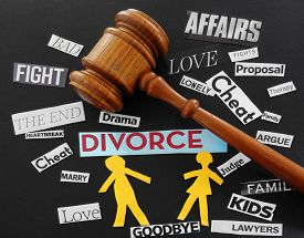 picture of divorce-papers  - Paper couple with gavel and divorce related messages - JPG