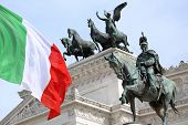 foto of emanuele  - The Piazza Venezia Vittorio Emanuele Monument for Victor Emenuel II in Rome Italy - JPG