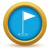foto of flag pole  - Gold golf flag icon on a white background - JPG