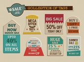 stock photo of free-trade  - Stylish vintage tags collection of Big Summer Sale with mega discount offer for limited time - JPG