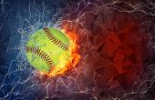 image of polygons  - Baseball ball on fire and water with lightening around on abstract polygonal background - JPG