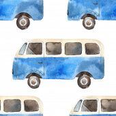 stock photo of woodstock  - Watercolor seamless pattern with retro travel van - JPG