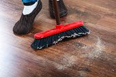 stock photo of broom  - Cleanup housework concept - JPG