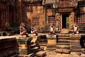 image of guardian  - Monkey guardians outside temple at Banteay Srei Cambodia - JPG