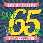 foto of year end sale  - Shopping Cart With 65 Percent End of Season Sale Illustration - JPG