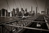 pic of cabs  - Brooklyn Bridge view Manhattan with yellow cab and skyscrapers - JPG