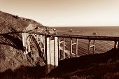 stock photo of bixby  - Bixby Bridge as the famous landmark in Big Sur California - JPG