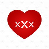 foto of pornography  - white XXX sign on red heart symbol with pattern background vector illustration - JPG
