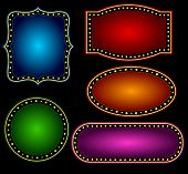 stock photo of marquee  - Elegant Glowing Retro Theater Marquee border  - JPG