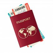 picture of passport cover  - Vector illustration passport with tickets - JPG