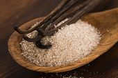 picture of vanilla  - vanilla sugar and vanilla beans - JPG