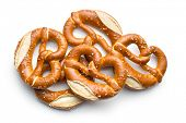 image of pretzels  - baked pretzels on white background - JPG