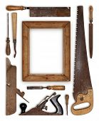 picture of wood craft  - collage work wood tools carpenter forming a frame - JPG