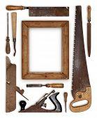 pic of carpenter  - collage work wood tools carpenter forming a frame - JPG