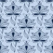 image of indian blue  - Indian ethnic floral seamless pattern in shades of blue with airy lace flowers in paisley style - JPG