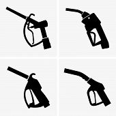 pic of pistols  - Set of four Gas pump pistols on grey background - JPG