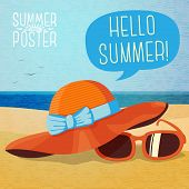picture of summer beach  - Cute summer poster  - JPG