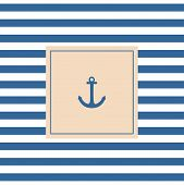 stock photo of pastel  - Nautical vector card or invitation with anchor - JPG
