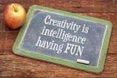 stock photo of red barn  - Creativity is intelligence having fun  - JPG