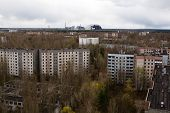 stock photo of alien  - View from roof of 16-storied apartment house in Pripyat town Chernobyl Nuclear Power Plant Zone of Alienation Ukraine