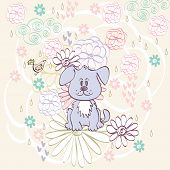 pic of bird-dog  - Stylish floral background with cartoon dog and  bird in light colors - JPG