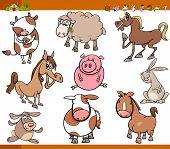 pic of funny animals  - Cartoon Illustration Set of Funny Farm Animals Characters - JPG