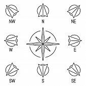 stock photo of compass rose  - Thin line compass wind rose with 8 directions - JPG