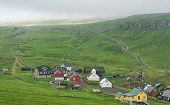 image of faro  - Village and green pastures in Faroe islands in summer - JPG