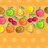 stock photo of kawaii  - Seamless pattern with cute kawaii smiling fruits stickers - JPG