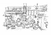 image of southeast  - Southeast Asia restaurant pen doodle sketch illustration - JPG
