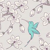 picture of hummingbirds  - Hand drawn seamless pattern with colibri bird and flowers in vector - JPG