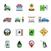 stock photo of petrol  - Gas benzine and petrol station icons set isolated vector illustration - JPG